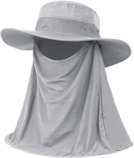LPKH Sun Hat Outdoor Fishing Hats Mask Face UV Protection Visor Hats with Flap Neck Cover hat (Color : Light Gray)