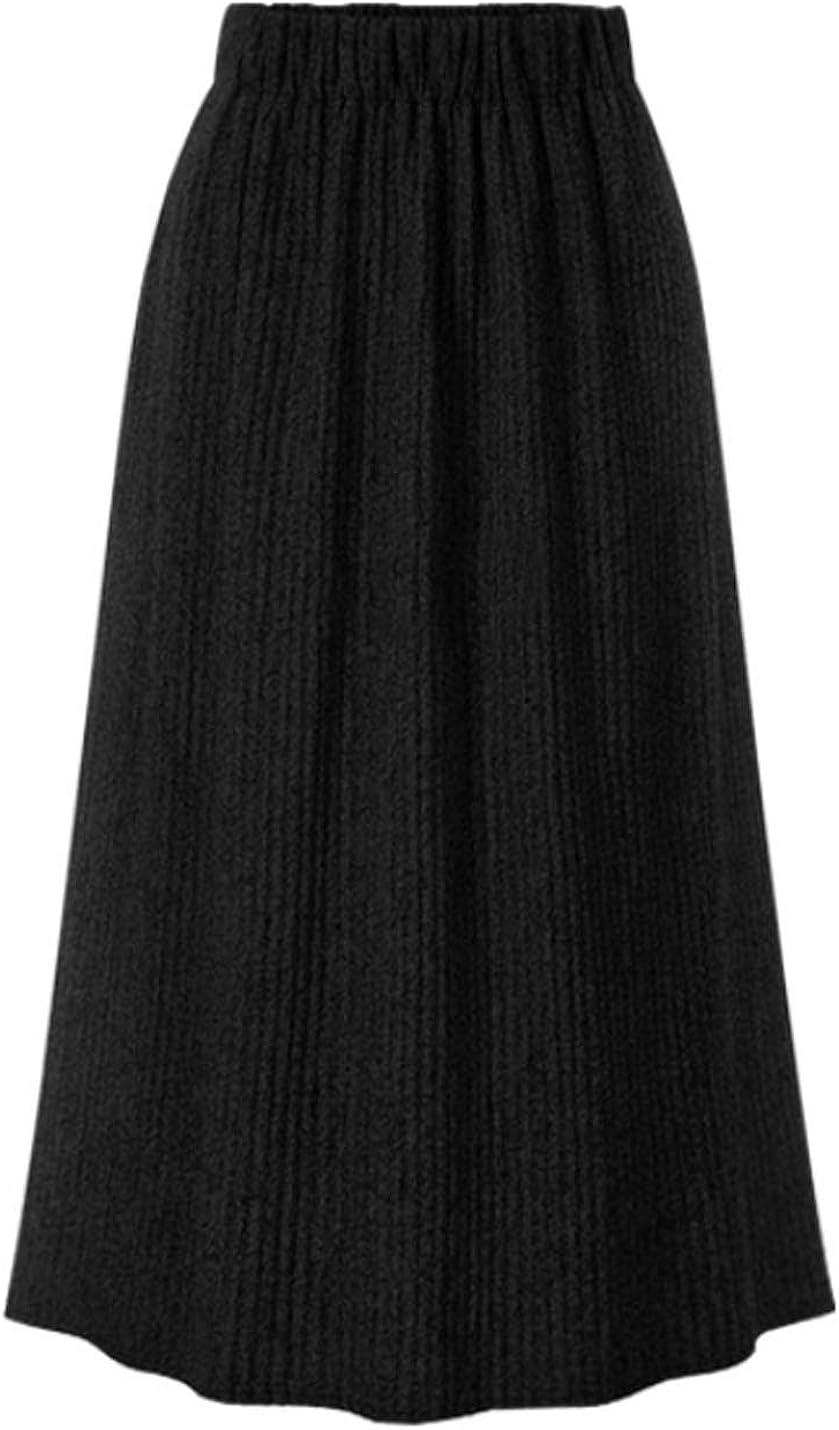 Flygo Women's Casual Spring Fall Pleated Soft Elastic Waist Knitting Split Skirt