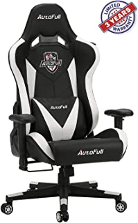 AutoFull Ergonomic Gaming Office Chair PU Leather Bucket Seat Racing Desk White Computer Chairs with Lumbar Support (3-Years Warranty)