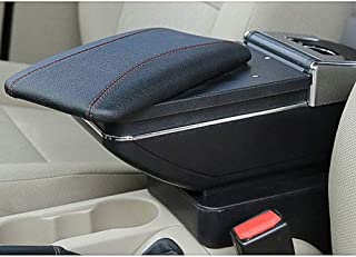 Para Renault Clio 2 2014-2018 Apoyabrazos Caja de almacenamiento Coches Reposabrazos Central Negro con línea roja