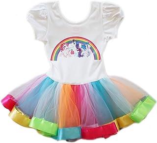 05cbd58a7f42c wenchoice Girls White Multi My Little Pony Rainbow Ballet Dress 9M-8