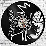 fdgdfgd Negro Retro CD Reloj Dragon Ball Z Reloj de Pared Wukong Coleccionable 3D Retro Vinilo Reloj de Pared | Regalo de Reloj de Pared con Registro de música
