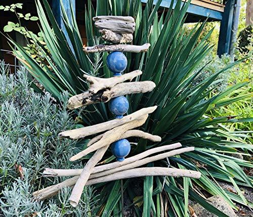 NEU: Gartenstele aus Treibholz mit handgefertigten Tonkugeln