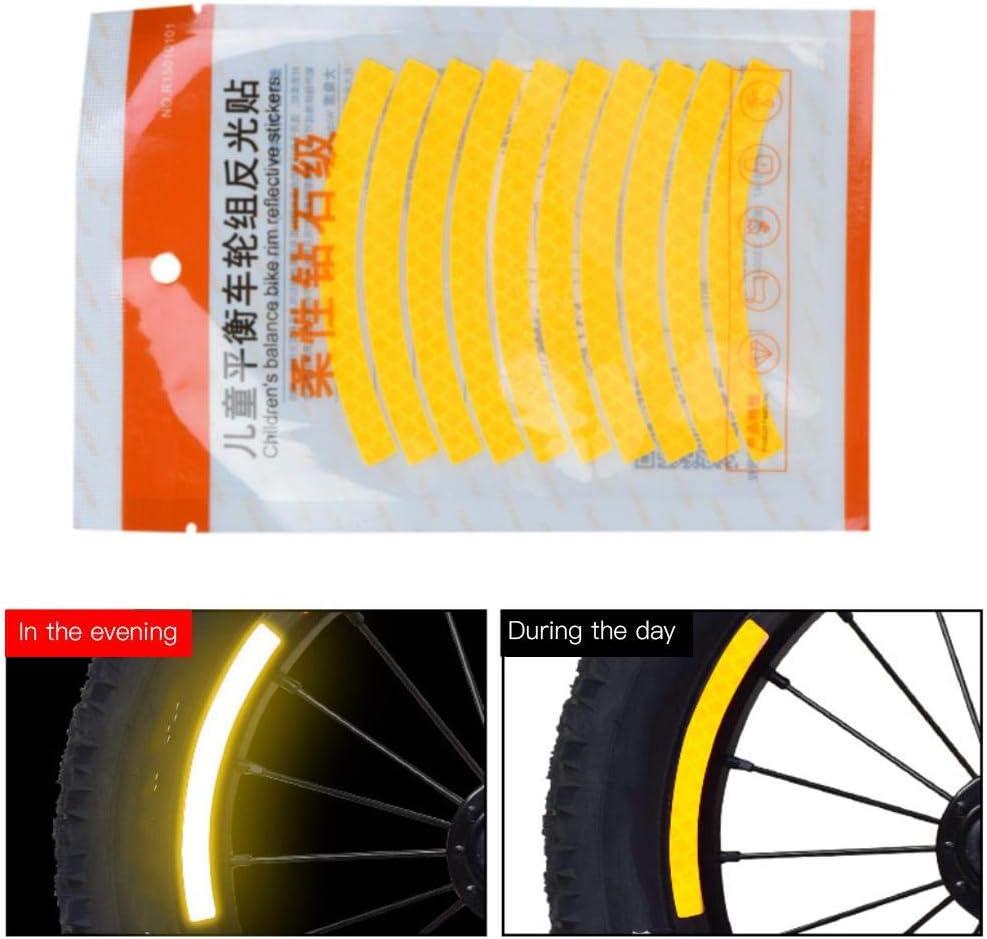 Kinderroller Reflektierender Aufkleber Fahrradfelge Fluoreszierendes Streifenband f/ür Nachtsicherheit Keenso Reflektierender Fahrradaufkleber