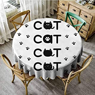 ScottDecor Kitty Wrinkle Free Tablecloths Cat Text Out of Round Shaped Cute Cats with Little Paw Prints in Black and White Pattern Round Tablecloth Black White Diameter 50