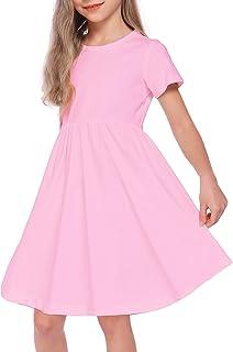 VWMYQ Girls Tie Dye Clothes Kids Cotton Plain Short Sleeve Twirl Dress