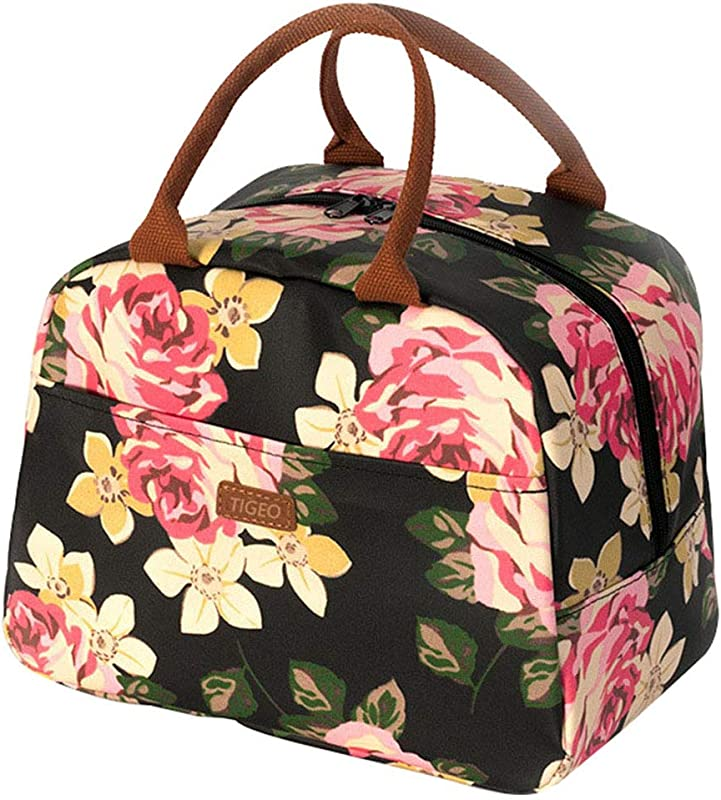 Tigeo Lunch Bags For Women Lunch Tote Bag Lunch Box Water Resistant Thermal Lunch Bag Cooler Bag Lunch Organizer For Working Picnic Beach Sporting Black Flower