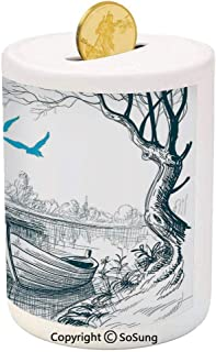 Lake House Decor Ceramic Piggy Bank,Boat on Calm River Trees Birds Twigs Sketch Drawing Clipart Water Minimalistic 3D Printed Ceramic Coin Bank Money Box for Kids & Adults,White Gray Blue