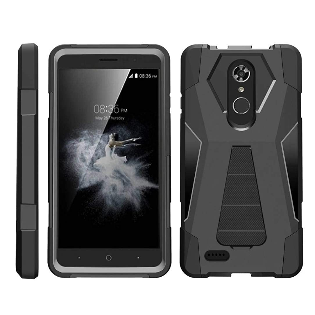 TurtleArmor | Compatible for ZTE Max XL Case | ZTE Blade Max 3 Case | ZTE Max Blue Case [Dynamic Shell] Hybrid Dual Layer Hard Shell Kickstand Silicone Case - Black