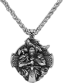 GuoShuang men viking jewelry thor with hammer mjolnir raven cross necklace with vlknut gift bag