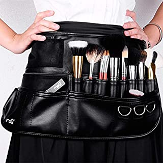 MSQ Makeup Brush Bag with Belt Multi Pocket Foldable Apron Pack Cosmetic Brush Pouch Holder Organizer with Adjustable Artist Belt Strap Best for Artist/Fashion Stylist