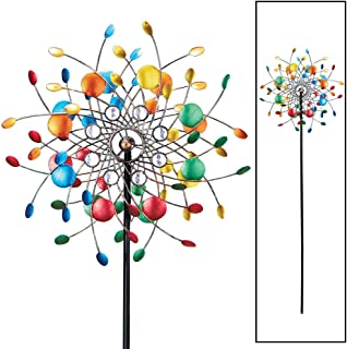 Bright Colorful Spinning Kaleidoscope Garden Decor Yard Stake with Sparkling Acrylic Beads