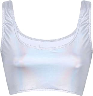 Women's Shiny Metallic Wet Look Sleeveless Solid Bustier Crop Tops Vest