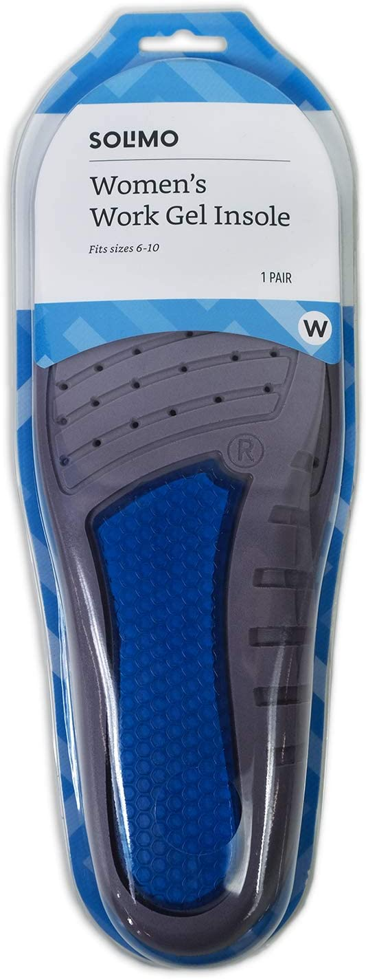 Brand - Solimo Work Gel Insoles, Women's Size 6-10 (1 Pair): Health & Personal Care