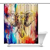 FANCYDAY Cool Elephant with Floral Ornament House Decor Cortina de Ducha para baño, baño Decorativo Cortina de Ducha con Anillos