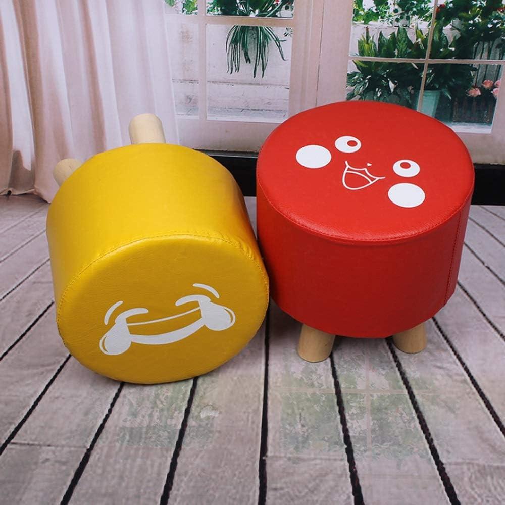 Changement de banc à chaussures Couverture de PU de chaise de repose-pieds rembourrée de soutien en bois massif rond 4 pieds, 28 * 28 * 28cm (Color : Yellow) Yellow