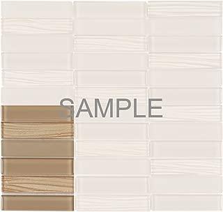 Modket TDH65MO-S Sample Champagne Beige Crystal Glass Mosaic Tile, Wave Cold Spray, Matte Blend Stacked Pattern Backsplash