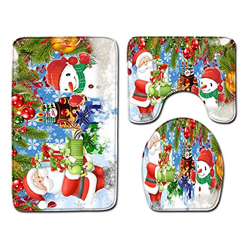 FGHJSF Alfombras de Baño Navidad de Color 3 Alfombrillas de Secado rápido, Alfombra de baño de Secado rápido, Alfombra de Pedestal + Tapa de Inodoro + Alfombrilla de baño