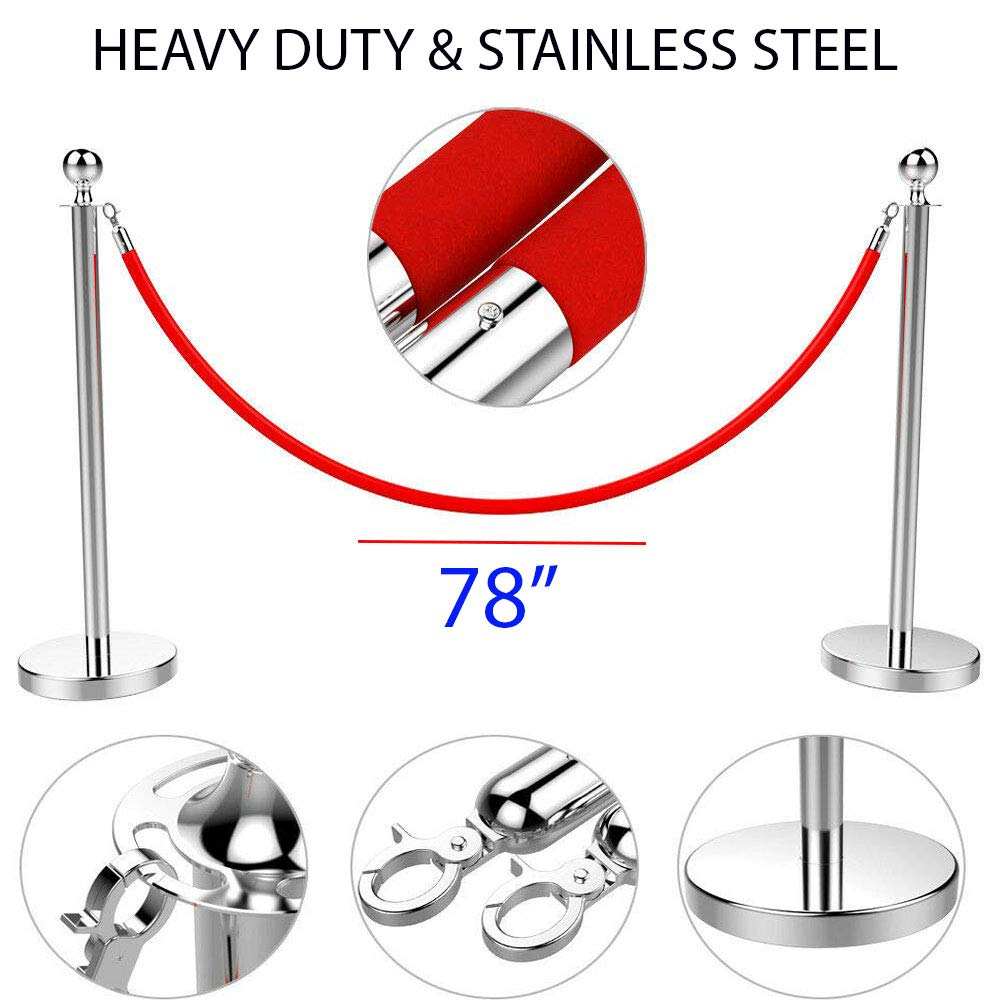 2-Pack Ranking TOP7 Heavy Duty shop Crowd Control Barrier Stainless Steel Stanchio