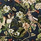 Samtstoff Dekostoff Italian Velvet Samt Affe Vogel Blumen