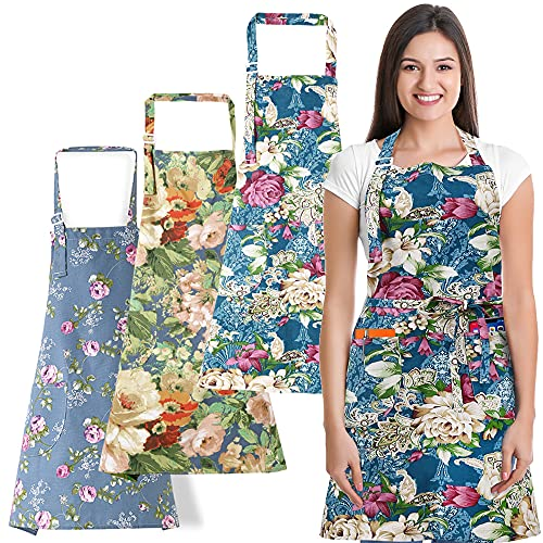 3 PCS Cooking kitchen Baking Aprons for Women with Pockets Vintage Cotton Linen 03