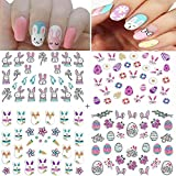 Easter Nail Art Decals Stickers Nail Flash Butterfly Nail Art Bunny Easter Egg Chick Nail Design Stickers 3D Cartoon Pattern Designs for Women Girls Kids