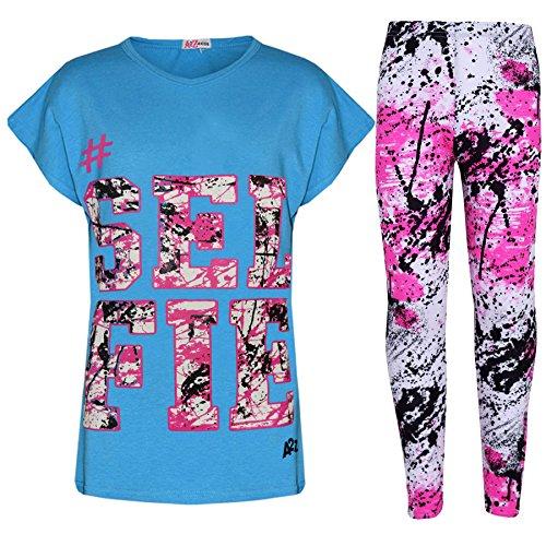 A2z 4 Kids®, Set mit T-Shirt mit LOVE-Aufdruck und Leggings im Flecken-Design für Mädchen im Alter von 7, 8, 9, 10, 11, 12, 13 Jahren Gr. 11-12 Jahre, Selfie Splash Set türkis