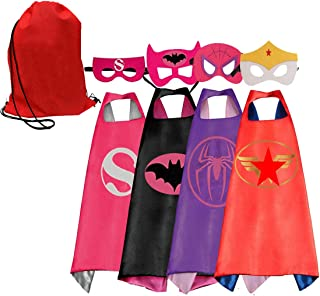 Toygoyou Kids Costumes 4pcs Superhero Capes with Masks and Bags for Girls Dress Up Party Favors