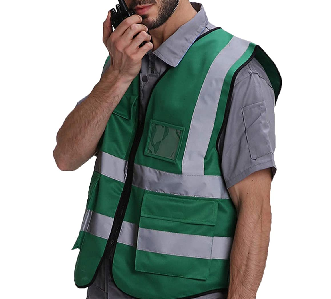 High Safety Security Visibility Zipper Reflective Vest Construction Traffic/Warehouse Safety Protection Waistcoat (TAG XXL, Dark green)