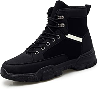 2019 Mens New Lace-up Flats Mens Ankle Boot for Men Canvas Shoes Round Toe Lace Up Synthetic Leather Rust-Proof Eyelets Breathable Sewing High Top Anti-Slip Comfortable Black