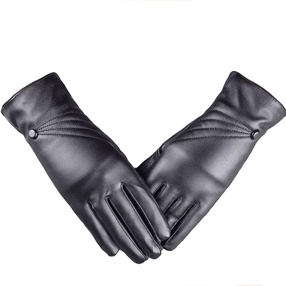 YOMXL Leather Gloves for Women,Winter Warm Button Decor Cashmere Wool Lined Vintage Luxurious Windproof Outdoor Hand Mittens