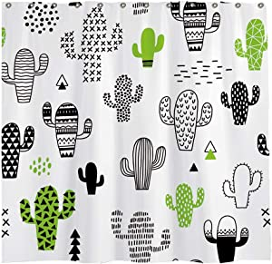 Allenjoy 72x72 inch Cactus Shower Curtain Set with 12 Hooks Black Desert Cute Hipster Cactus Geometric Bathroom Curtain Durable Waterproof Fabric Bathtub Sets Home Decor