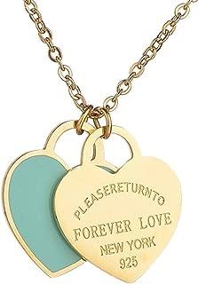 Designer Inspired Gold Titanium Steel Forever Love Double Heart Pendant Necklace