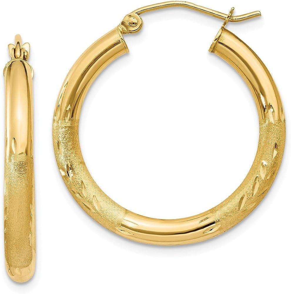 14k Satin and Diamond-cut 3mm Round Hoop Earrings
