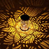 Solar Lanterns Outdoor Hanging,Solar Lantern Lights with Handle,Retro Metal Led Decorative Waterproof Solar Light for Yard,Courtyard,Garden,Patio,Table,Lawn,(Warm White Leaves )