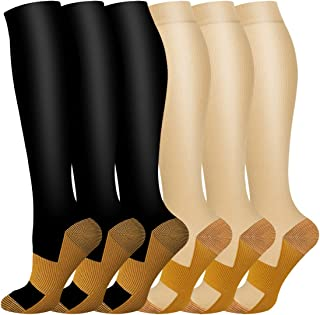 Copper Compression Socks Women & Men Circulation - Best for Running,Athletic Sports,Flight Travel