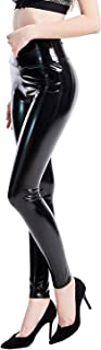 INDJXND High Waisted Shiny Faux Leather Leggings for Women Skinny Latex Pants Sexy Punk Black PU Tight Trousers