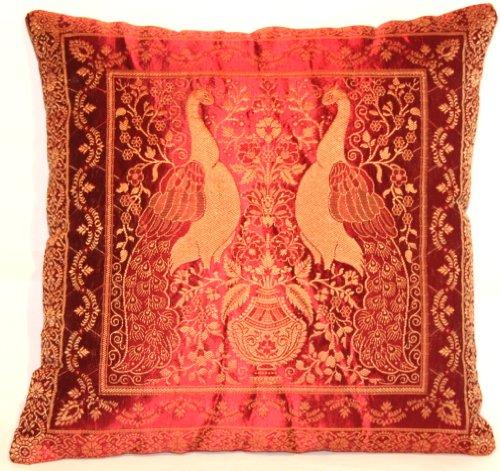Housse de coussin rouge, Banarasi soie fait, au four et décoration fait à la main, 40x40, conception Extravaganza Peacock, design agréable canapé-lit, fabriqués à partir de Cachemire et l'Inde.