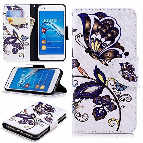 LEMORRY Funda para Huawei P9 Lite Mini Cuero Funda Billetera Tapa Estuches con Ranuras para Tarjetas Magnética Protector Suave TPU Silicona Piel Cover para Huawei P9 Lite Mini, Mariposa Floral