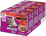 Whiskas 1 + Katzenfutter, Hochwertiges Nassfutter für gesundes Fell, Ausgewogenes Feuchtfutter in verschiedenen Geschmacksrichtungen 4 x 12 x 100g