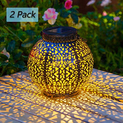 [2 Pack]Solarlaterne für außen,TakemeEuro Solarlampe für Außen Gartendeko Weiß Solar Gartenlaterne