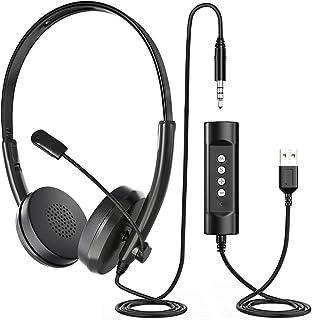 VENKIM ヘッドセット マイク テレワーク USB Web skype 会議 在宅勤務 コールセンター ビデオチャット使用 リモコン付き ヘッドホン 3.5MM 4極/USB両用 PUイヤパッド
