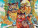 Unbekannt Puzzle 2000 Teile - Eulen mit Blumen & Schmetterlingen - Zeichnung Gemälde - Tiere Eule - bunt - Eulenmotiv Vögel - lustige Tiere