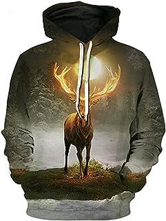 Hakjay Men's Fashion Sports Sweatshirt Animal Print Hoodie Hooded Sweatshirt