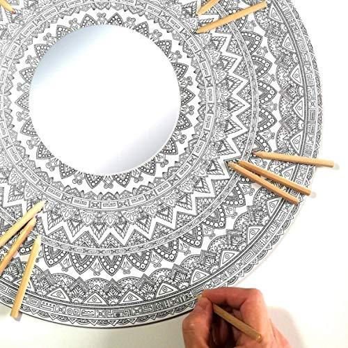 Espejo Mandala Pared de MADERA para Colorear Adultos y Niños de PAINT&RELAX | Espejo Redondo Ø48cms | Ideales para Decoración del Hogar | Regalo Original con Colores Incluidos | Modelo Azteca.