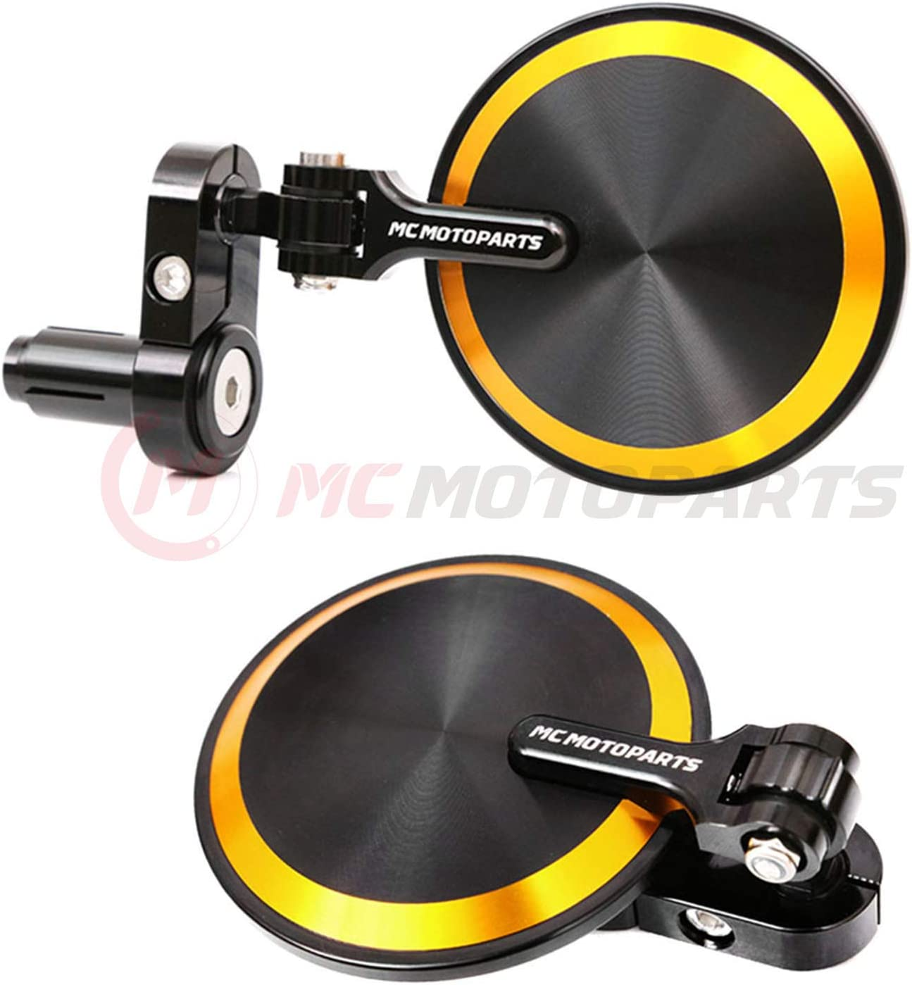 MC Motoparts Gold Reborn CNC Compatible Bar Mirrors Rearview Online limited product online shopping End