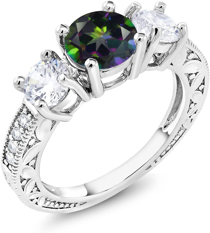 3.16 Ct Round Green Mystic Topaz Rhodium Plated Ring
