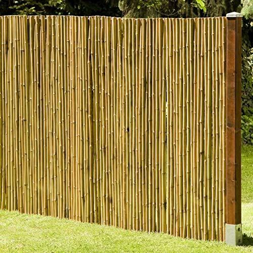 DE-COmmerce Natürlicher Sicht - und Windschutz Deluxe I Sichtschutz Garten Bambus mit geschlossenen Bambusrohren I Gartensichtschutz Rollzaun I Bambus Sichtschutzwand 180 x 180 cm
