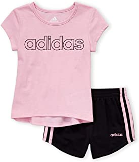 adidas Cotton T-Shirt and Shorts Set - Short Sleeve for Girls