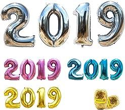 بالونات 2019 بالون رقم 40 بوصة من الورق المقوى لحفلة التخرج واحتفالات الذكرى السنوية وحفلات الزفاف وأعياد الميلاد مع أشرطة تمويج وقصة من بالون 2019 (فضي)